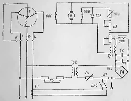 Принципиальная схема БРН генератора с угольным регулятором УРН