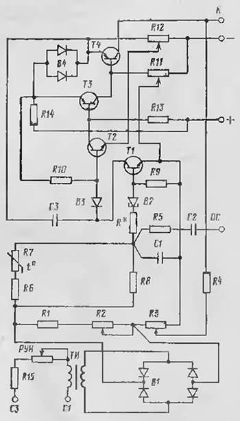 Принципиальная схема полупроводникового корректора напряжения