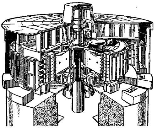 Общий вид современного вертикального гидрогенератора